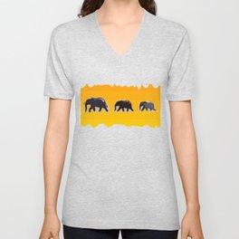 Elephants walking in the savanah Unisex V-Neck