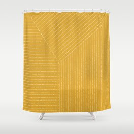 Lines / Yellow Shower Curtain