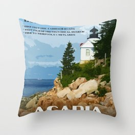 Vintage poster - Acadia National Park Throw Pillow