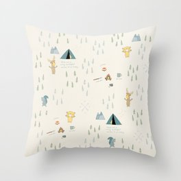 Camping with friends - Bear, Moose & Squirrel Throw Pillow