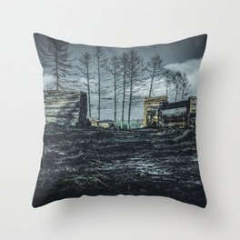 Poltery Site (Wood Storage Area) After Storm Victoria Möhne Forest dark Throw Pillow