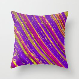 rhys - bright abstract design of hot pink grape purple and gold Throw Pillow