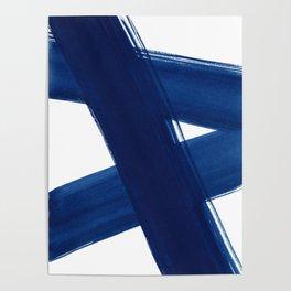 Indigo Abstract Brush Strokes | No. 4 Poster