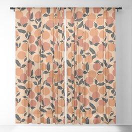 Seamless Citrus Pattern / Oranges Sheer Curtain