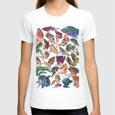 Reverse Mermaids White SMALL Womens Fitted Tee