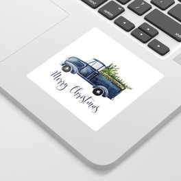 Blue Christmas Truck Sticker