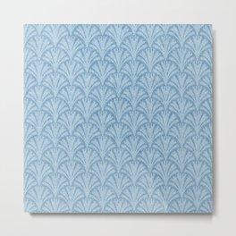 Faux Velvet Fan Pattern In Blue on Blue Metal Print
