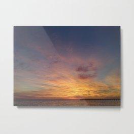 Sundown by the pier Metal Print