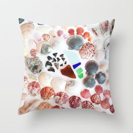 Shark Teeth and Sea Glass Throw Pillow
