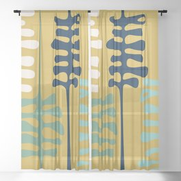 Abstract jungle - mustard Sheer Curtain