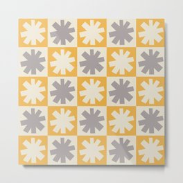 Mid Century Modern Check and Star Pattern 250 Beige Gray and Yellow Metal Print