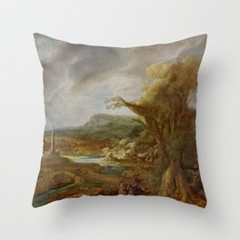 Stolen Art - Landscape with an Obelisk by Govert Flinck Throw Pillow