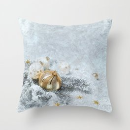 Silver gold ornaments Throw Pillow