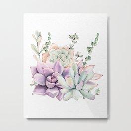 Succulents Sage + Purple Watercolor by Nature Magick Metal Print