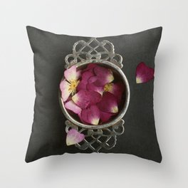 Vintage Tea Strainer and Rose Petals Throw Pillow