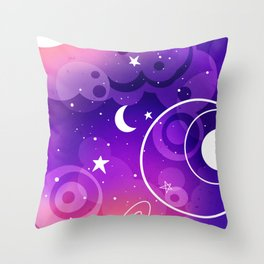 Outer Space Purple Spectrum Version/ Moon, Stars, Planets Minimal Design/Astronomy Lovers Throw Pillow