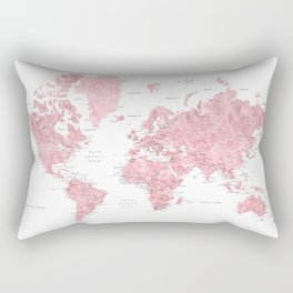 Light pink, muted pink and dusty pink watercolor world map with cities Rectangular Pillow