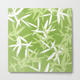 Green Bamboo Leaves Unique Pattern Metal Print