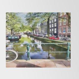 Amsterdam Canal Throw Blanket