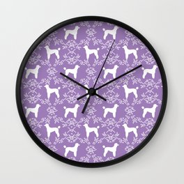 Poodle silhouette floral pattern minimal dog patterns for poodles owners lilac and white Wall Clock