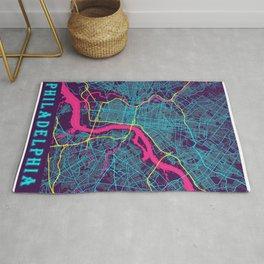 Philadelphia Neon City Map, Philadelphia Minimalist City Map Rug