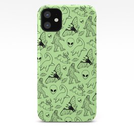Cryptid Pattern: Black on Green iPhone Case
