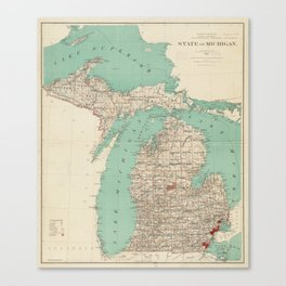 Vintage Map of Michigan (1888) Canvas Print