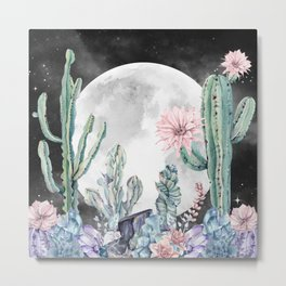 Desert Nights Gemstone Oasis Moon Night Metal Print