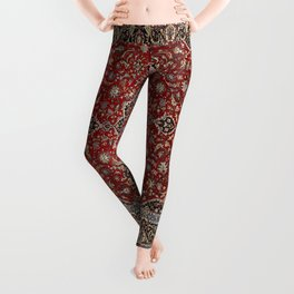 N63 - Red Heritage Oriental Traditional Moroccan Style Artwork Leggings