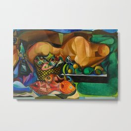 Reclining Nude with Fish and Fruit portrait by Emiliano di Cavalcanti Metal Print