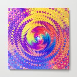 Abstract Colorful Diamond Shape Circular Design Metal Print