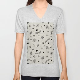 Abstract doodle strokes Unisex V-Neck