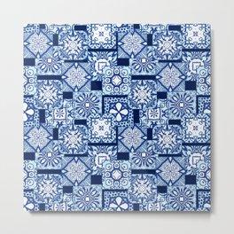Overlapping blue tile pattern Metal Print