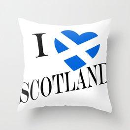 I Heartflag Scotland Black Throw Pillow
