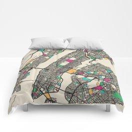 Colorful City Maps: Manhattan, New York Comforters
