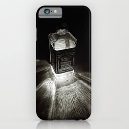 Bottle of Jack, Tennessee Whiskey incandescent rays of sunburst black and white  photography iPhone Case