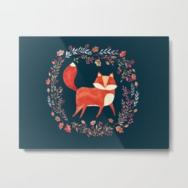 Trotting Fox Forest At Night Flowers Illustration Cute Cozy Watercolour Illustration Scandinavian St Metal Print