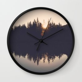 Wooded Lake Reflection  - Nature Photography Wall Clock