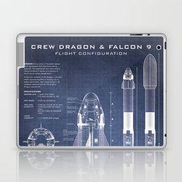 NASA SpaceX Crew Dragon Spacecraft & Falcon 9 Rocket Blueprint in High Resolution (dark blue) Laptop & iPad Skin