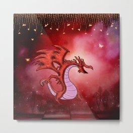Funny cartoon dragon with butterflies Metal Print