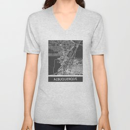 Albuquerque map blue Unisex V-Neck
