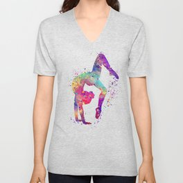 Girl Gymnastics Tumbling Watercolor Unisex V-Neck