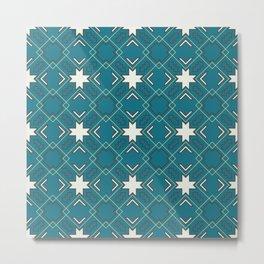 Ethnic pattern in blue Metal Print