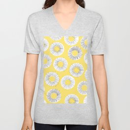 Modern yellow black watercolor abstract circles Unisex V-Neck