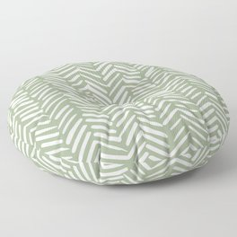 Boho Herringbone Pattern, Sage Green and White Floor Pillow