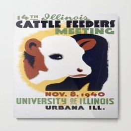 Vintage poster - 14th Illinois Cattle Feeders Meeting Metal Print