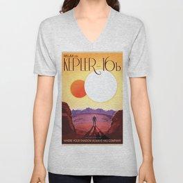 NASA Retro Space Travel Poster #8 Kepler 16b Unisex V-Neck