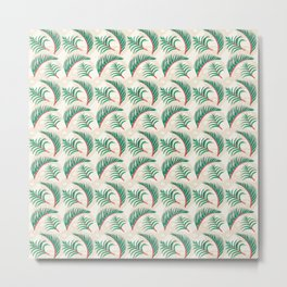 Take me to Paradise Forest Leaves - Cream Metal Print