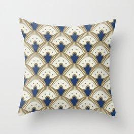 Fan Pattern Blue/Gold Throw Pillow