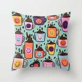Smiley Coffee Throw Pillow